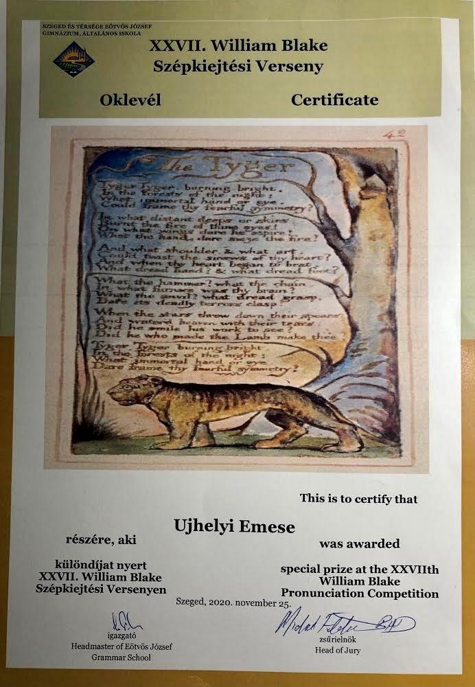 William Blake angol szépkiejtési verseny